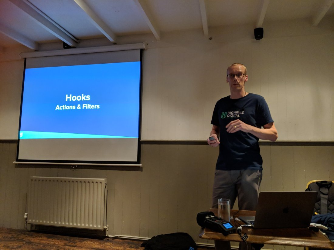 Mark Wilkinson speaking at WordPress Cheltenham